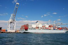 A loaded freighter in port Stock Images