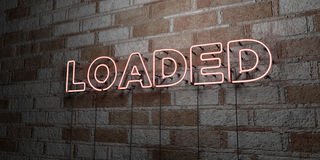 LOADED - Glowing Neon Sign on stonework wall - 3D rendered royalty free stock illustration. Can be used for online banner ads and direct mailers Royalty Free Stock Photos