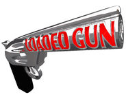 Loaded Gun Ready to Shoot Crime Shooting Danger. A pistol firearm with the words Loaded Gun on the barrel to symbolize being ready to shoot or commit a crime Stock Image