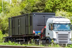 Loaded haulage trailer truck on uk motorway in fast motion.  royalty free stock images
