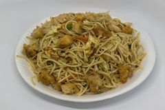 Loaded with juicy chicken, egg and vegetables, this easy colorful chicken Chow royalty free stock photography