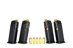 Loaded Magazine. Loaded High Capacity Handgun Magazines Stock Photography