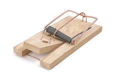 Loaded mousetrap. On a white background Stock Photography