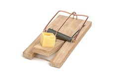 Loaded mousetrap with cheese Stock Photo