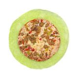 Loaded Pizza Cooked On Top Of Spinach Tortilla Stock Photo
