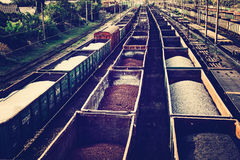 Free Loaded Railcars From Above. Cargo Transportation By Rail. Stock Images - 93954354