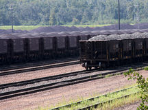 Iorn ore taconite loaded railway cars Stock Photos