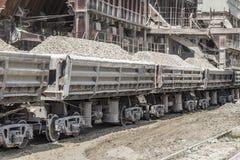 Loaded railway wagons, Ukraine Royalty Free Stock Images