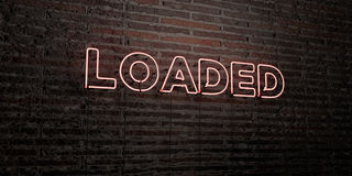 LOADED -Realistic Neon Sign on Brick Wall background - 3D rendered royalty free stock image. Can be used for online banner ads and direct mailers Stock Image