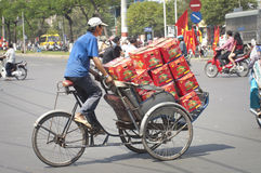 Loaded Trishaw, Ho Chi Minh City Royalty Free Stock Photo