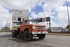 A loaded truck leaves Port in Montevideo, Uruguay. Stock Photos