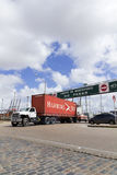 A loaded truck leaves Port in Montevideo, Uruguay. Royalty Free Stock Photo