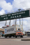 A loaded truck leaves Port in Montevideo, Uruguay. Stock Image