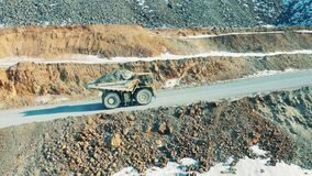 Free Loaded Truck On The Road Of A Copper Mining Site Royalty Free Stock Image - 218673616