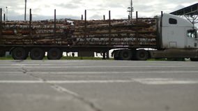 Loaded Truck with Trailers Drives to Check Point stock footage