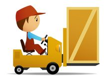 Loader with box. Vector illusration. Yellow loader with wooden box on it Stock Photo