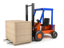 Loader and box. Loader which moves box on white background Royalty Free Stock Photos