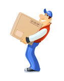 Loader with box. Delivery service. Royalty Free Stock Photography