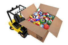 Loader with box full balls as national flags Stock Image