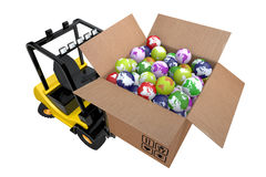 Loader with box full globes Royalty Free Stock Photos