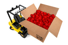 Loader with box full hearts Stock Photo