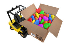 Loader with box full hearts of different colours Stock Image