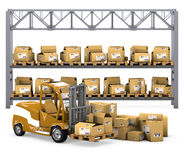 Loader with boxes. Royalty Free Stock Image