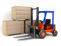 Loader and boxes. On white background Royalty Free Stock Photography