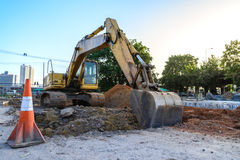 Loader bucket working at construction site.  royalty free stock photo