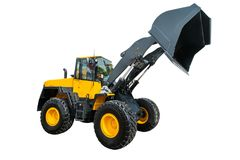 Loader or Bulldozer excavator, isolated on white background with Royalty Free Stock Image