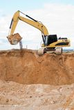Loader excavator at sand quarry Stock Photo