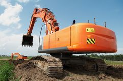 Loader excavator at construction Stock Images