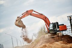 Excavator Loader at earth moving works stock photography