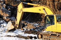 Loader excavator in open cast Royalty Free Stock Image