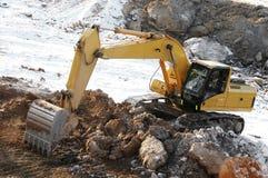 Loader excavator in open cast stock image