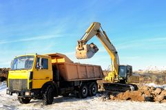 Loader excavator and rear-end stock image
