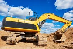 Loader excavator at sandpit earthmoving works Royalty Free Stock Photos