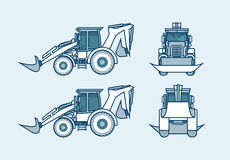 Loader front, side, back view in line style Stock Photos