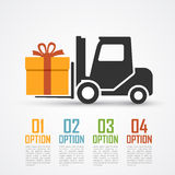 Loader with gift. Infographic template with loader silhouette and a gift Royalty Free Stock Photography