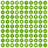 100 loader icons hexagon green. 100 loader icons set in green hexagon isolated vector illustration Royalty Free Stock Photos