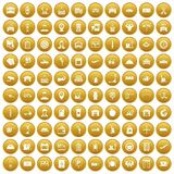 100 loader icons set gold. 100 loader icons set in gold circle isolated on white vector illustration Stock Image