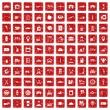 100 loader icons set grunge red. 100 loader icons set in grunge style red color isolated on white background vector illustration Stock Photography