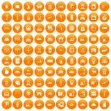 100 loader icons set orange. 100 loader icons set in orange circle isolated on white vector illustration Stock Photo