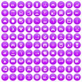 100 loader icons set purple. 100 loader icons set in purple circle isolated on white vector illustration Stock Photography
