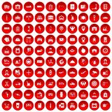 100 loader icons set red. 100 loader icons set in red circle isolated on white vector illustration Royalty Free Stock Images
