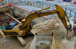 Loader loading machine and dig on construction Stock Photography