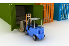 Loader loads in the container of box Royalty Free Stock Photos
