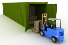 Loader loads in the container of box Stock Photos