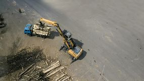The loader loads the wooden beams in the truck stock photo