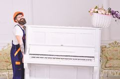 Loader moves piano instrument. Man with beard, worker in overalls and helmet lifts up piano, white background. Delivery. Service concept. Courier delivers royalty free stock image